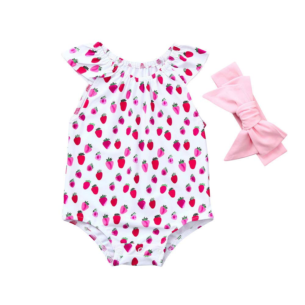 310f54e89ba Amazon.com  ❤ Mealeaf ❤ Newborn Baby Girl Ruffles Romper Fruits Print  Headband Jumpsuit Outfit Clothes 6-24 Months  Clothing