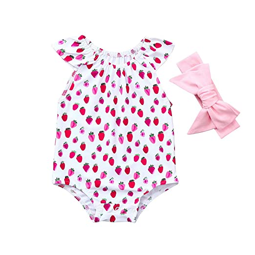 fb4945972aaf Amazon.com  ❤ Mealeaf ❤ Newborn Baby Girl Ruffles Romper Fruits Print  Headband Jumpsuit Outfit Clothes 6-24 Months  Clothing