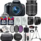 Canon EOS Rebel T5i DSLR Camera Full HD 1080p + Canon18-55mm IS STM Lens + .43x Wide Angle Lens + 2.2X Telephoto Lens + 3PC Filter (UV-CPL-FLD) + 64GB Storage + Backup Battery - International Version