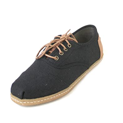 TOMS Mens Cordones Black Heritage Canvas On Crepe 7 ...