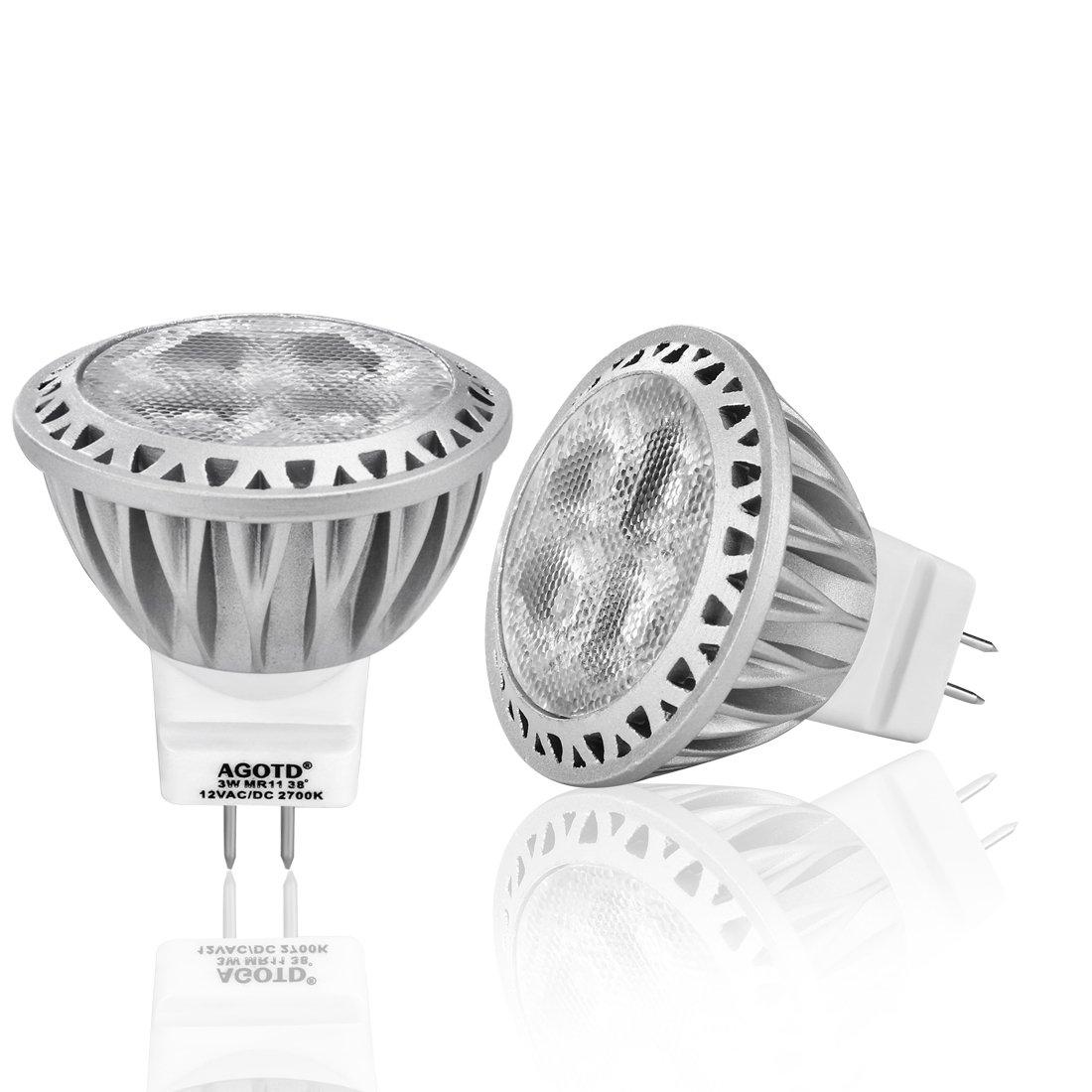 AGOTD GU4 MR11 12V Led Lampen Warmweiß, 35mm Durchmesser,1.38x1 ...