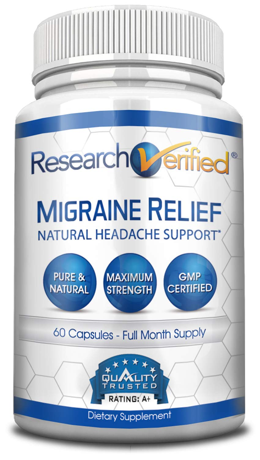 Research Verified Migraine Relief - 1 Bottle - Top Migraine Relief - with Riboflavin, Magnesium, Feverfew and Niacin. Reduces Severity and Duration of migraine Attacks. 100% Money Back Guarantee!