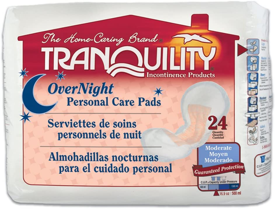 Tranquility Incontinence Personal Care Pads for Men or Women - Overnight - 24 ct