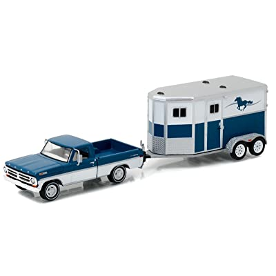 Greenlight New 1:64 Hitch & Tow Series 9 - Blue 1972 Ford F-100 and Horse Trailer Diecast Model Car: Toys & Games