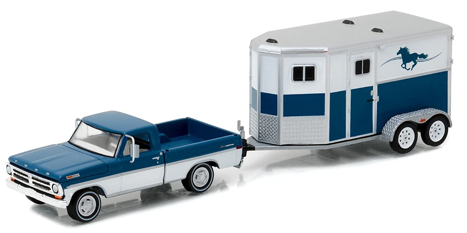 NEW 1:64 HITCH & TOW SERIES 9 - BLUE 1972 FORD F-100 AND HORSE TRAILER DIECAST MODEL CAR BY GREENLIGHT