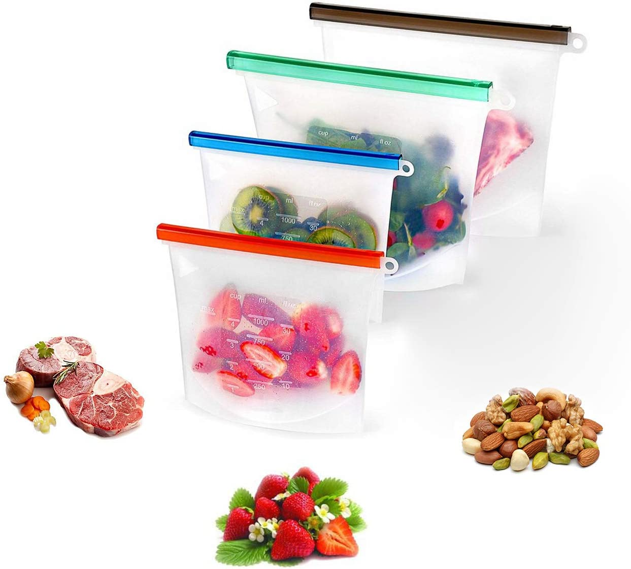 4PCs Reusable Silicone Food Storage Bags,Super Thick Leak-Proof Ziplock Bags,BPA Free Silicone Bags,Silicone Bags for Food Storage,Can be Used to Store Food, Meat, Sandwiches, Fruits, Vegetables, Etc.