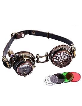 4731d1cb1aca5 RQ-BL Lunettes Goggles Steampunk Marron lentille viseur avec lumière LED  sans Correction