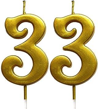 Amazon.com: Magjuche - Velas de cumpleaños número 33 doradas ...