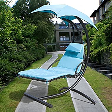 300lbs Max Weight Capacity Hanging Chaise Lounger Chair with Umbrella Garden Air Porch Arc Stand Floating Swing Hammock Chair BLUE