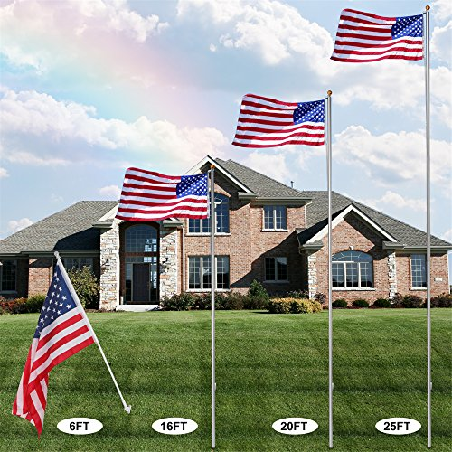 F2C 20FT Sectional Flagpole Kit Outdoor Halyard Pole W/1 US American 3'x5' Flag, In-Ground Pole and Hardware