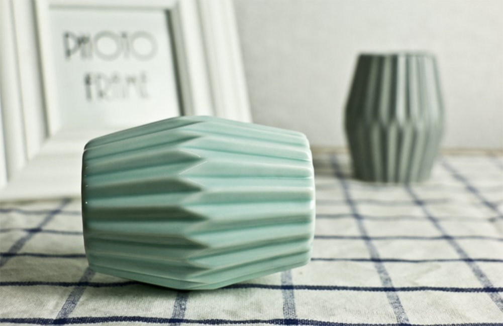 DaoRier Keramik Ornamente Blumenvase Handwerk Vase B/üro Ornamente Desktop Vase f/ür Office Home Desktop-Dekoration Grau