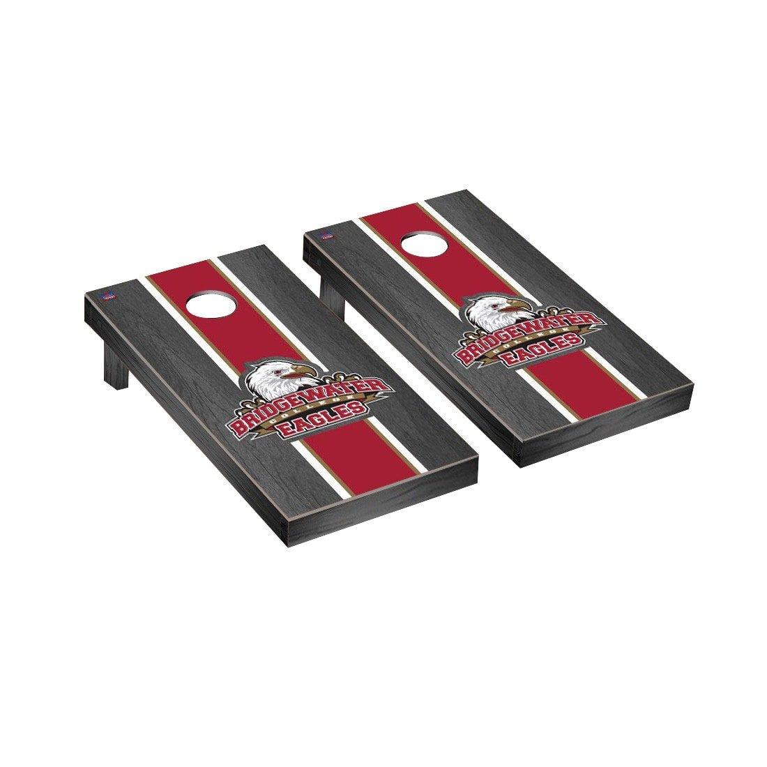 Victory Tailgate Bridgewater Eagles Regulation Cornhole Game Set Onyx Stained Stripe Version
