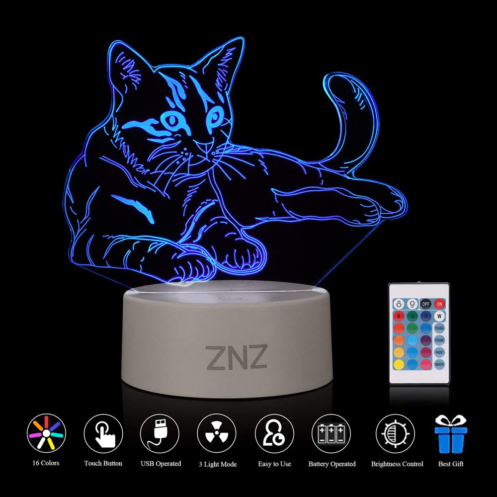 3D LED Lamp Night Light - ZNZ 16 Colors USB Operated Table Dimmable Night Light with Touch Switch Remote Control for Kids, 3D Lights Optical Illusions Desk Lamp for Room Decor (Cat) [Energy Class A+] EU3DL07MM
