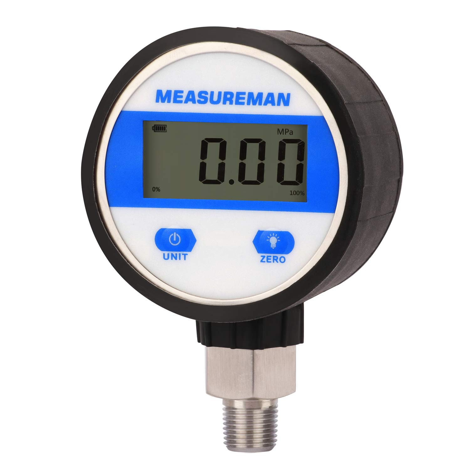 "Measureman 2-1/2"" dial, Digital Industrial Vacuum Gauge with 1/4""NPT Lower Mount, Stainless Steel case and Connection, 15psi, 1%,Battery Powered, with LED Light"