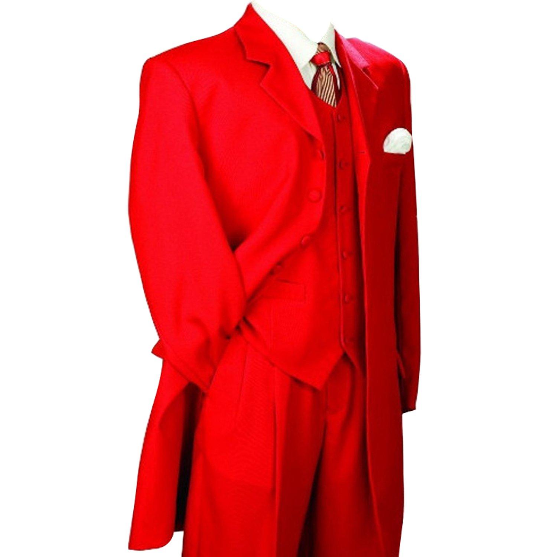HBDesign Mens 3 Piece 7 Button Peak Lapel Slim Fit Long Pattern Suits Red HMS5079Rd