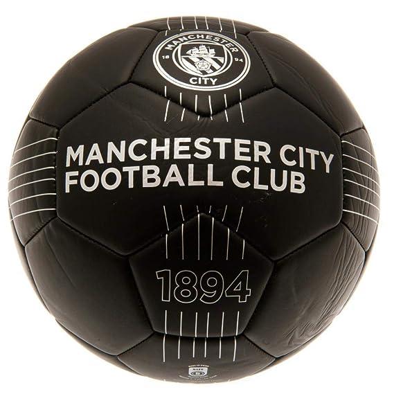 Manchester City FC - Balón de fútbol de piel (Talla 5) (Negro ...