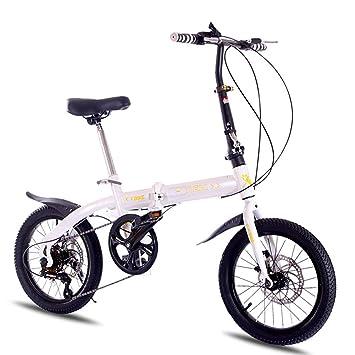 Grimk Bicicleta Plegable para Adultos Rueda De 16 Pulgadas Bici Mujer Retro Folding City Bike Velocidad única,Manillar Y Sillin Confort Ajustables,Capacidad ...