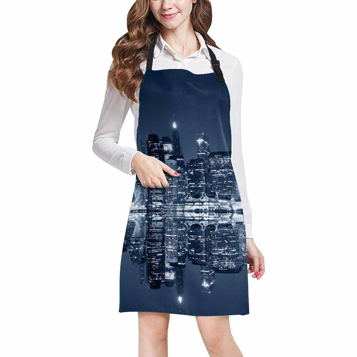 InterestPrint Manhattan at Night New York City View from Brooklyn Kitchen Apron - Mens and Womens Bib Apron - Adjustable with Pockets for Cooking Baking Gardening, Large Size by InterestPrint (Image #1)