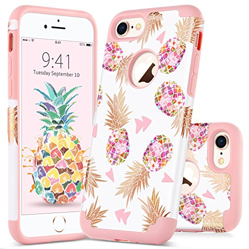 GUAGUA iPhone 7 Case iPhone 8 Case Colorful Pineapple Slim Hybrid Hard PC Soft Silicone Glossy Shockproof Protective Anti-Scratch Phone Case for Apple iPhone 7/8 Case for Girls&Women Rose Gold White