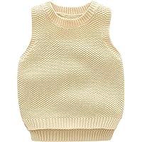 Niños Niñas Cuello Redondo Chaleco de Punto Infantil Sin Manga Suéter Jersey Pullover