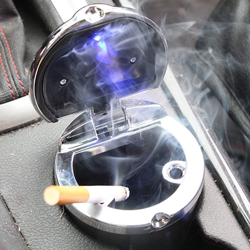 PoeHXtyy Port/átil Inoxidable Auto Coche Cigarrillo cenicero Ceniza con Tapa Azul LED luz Coche Titular de la Taza