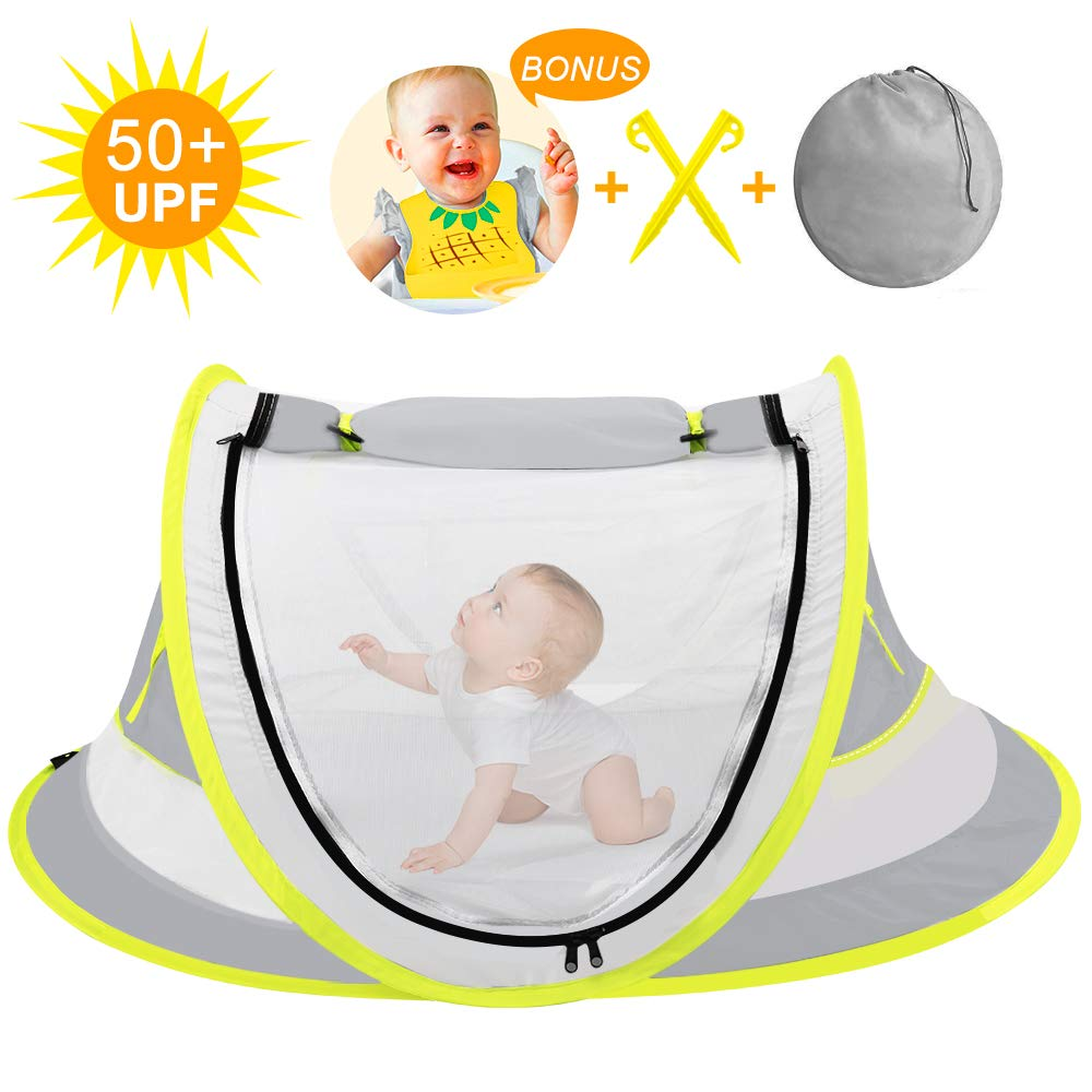 Large Baby Beach Tent,Portable Baby Travel Tent UPF 50+ Infant Sun Shelters with Baby bib, Pop Up Folding Travel Bed Mosquito Net Sunshade with 2 Pegs by TWEI