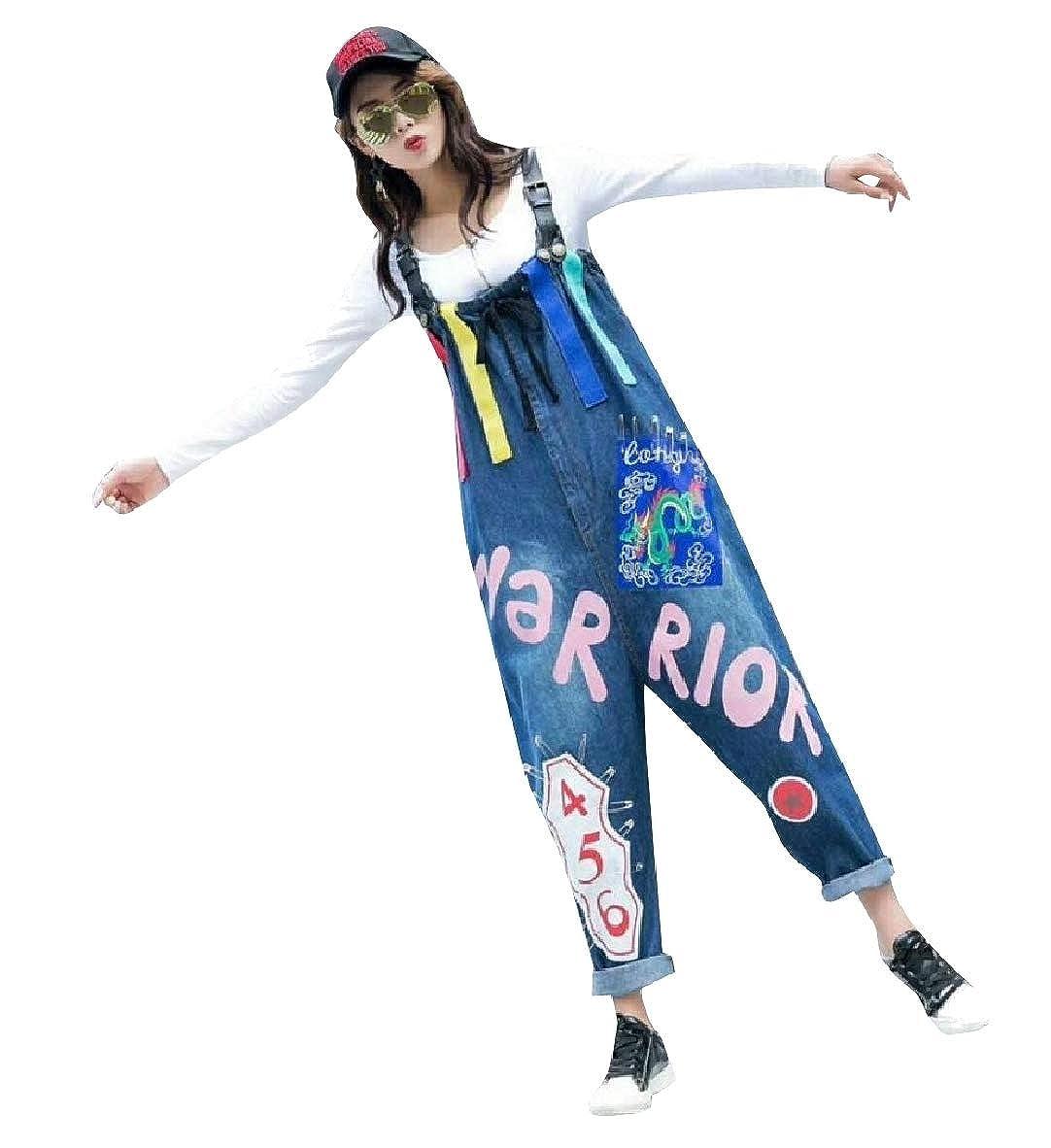 Andopa Womens Multicolored Wide Leg Baggy Overalls Denim Bib Pants