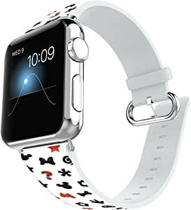 FTFCASE Sport Bands Compatible with Apple Watch Series 1 2 3 4 5 38mm Versions Leather Band Steel Connector iWatch Bands for 40mm - Cartoon Tile Pattern