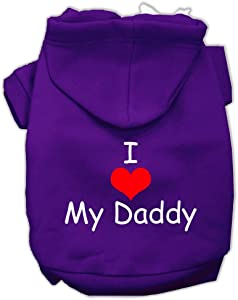 Mirage Pet Products I Love My Daddy Screen Print Pet Hoodies, Purple, X-Large