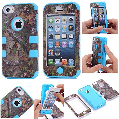 For iphone 5c Case,Kecko(TM) Defender Body Armor Realtree Camo High Impact Tough Silicon Rubber Military Rugged Protective Case with Camouflage Wood Design for iphone 5C Only (Bird Blue)