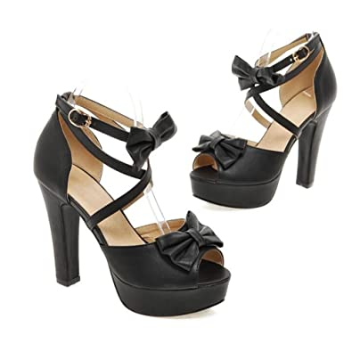 a03e16181e30 Exing Women s Shoes PU Summer Comfort Ankle Strap Sandals Walking Shoes  Chunky Heel Platform Block Heel
