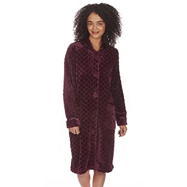 6ef9f262ba Forever Dreaming Women s Long Embossed Plush Fleece Nightgown at Amazon  Women s Clothing store