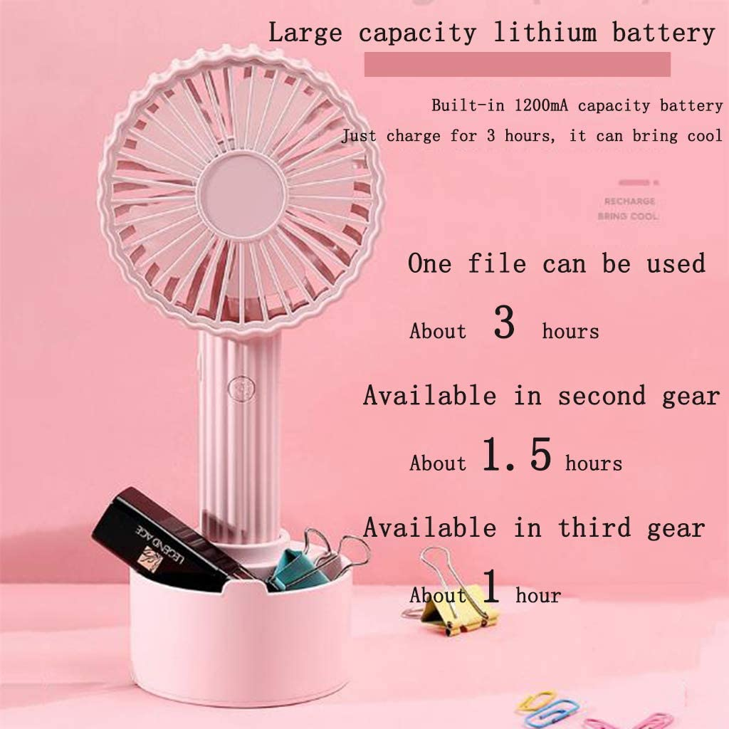 Pink Mini Handheld FanCactus Shape Portable Handheld Fan USB Rechargeable Cooler with Holder