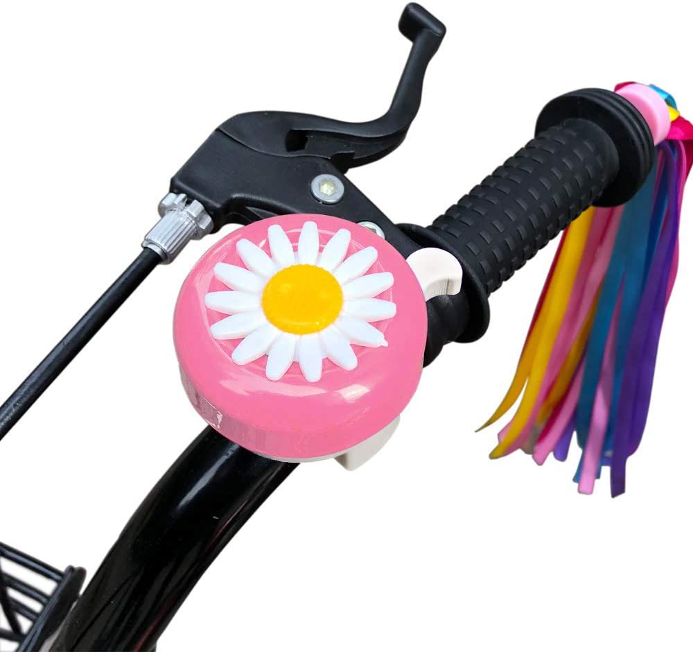 obqo 1 Pack Kids Bike Bell and 2 Pack Kids Bike Streamers for Childrens Bike Accessories Pink, Red, Purple /& Blue