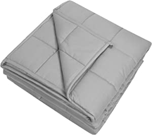 "Sweet Home Collection Weighted Blanket Quality Heavyweight Cozy Soft Breathable and Comfortable Bedding with Premium Grade Glass Beads, 60"" x 80""-15 Pounds, Light Gray"