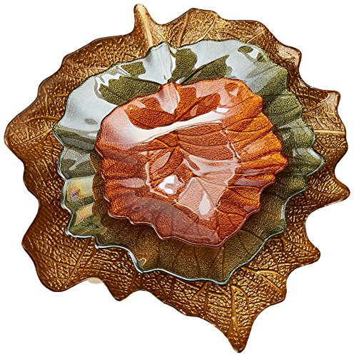 IMAX 83176-3 Harvest Leaves Glass Plates, Set of 3