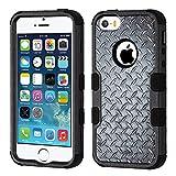 MyBat Cell Phone Case for iPhone 5S, iPhone SE, iPhone 5 - Aluminum Treads/Black Image
