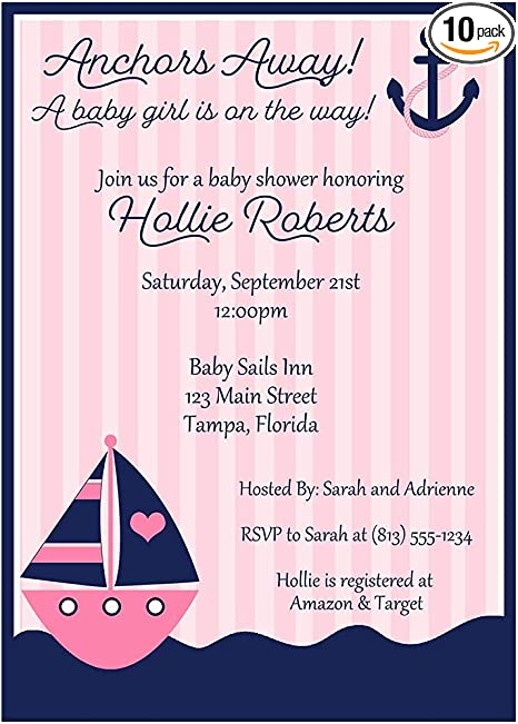 Amazon.com: Nautical Girl Baby Shower Invitations Anchors Away ...