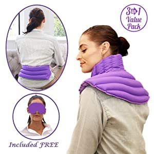 My Heating Pad for Neck and Shoulders, Menstrual Cramps and Back Pain Wrap, and Eye Mask for Headache and Stress Relief - Microwavable Heating Pad Set for Pain Relief &Muscle Relaxation (Purple Plus)
