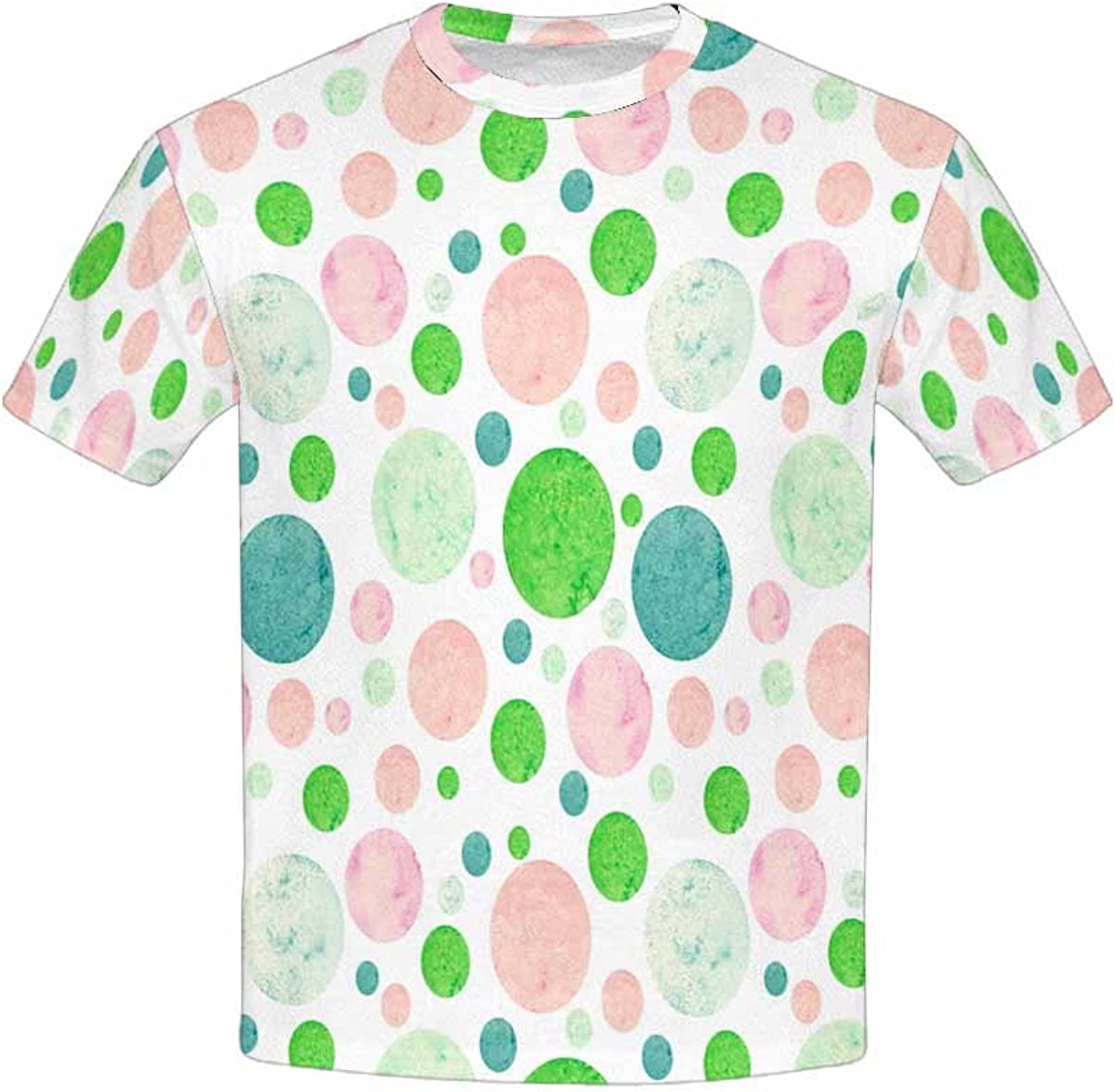 XS-XL INTERESTPRINT Youth Crew Neck T-Shirt Watercolor Bright Green Blue and Pink Polka Dots
