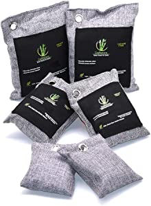 Air Purifiers for Home (6 Pack), Odor Eliminator-Moisture Absorber-Freshener-Deodorizer- Moso Bamboo Activated Charcoal Bags for Car Refrigerator Shoes (2x200gr, 2x100gr and 2x50gr) Cool Gray