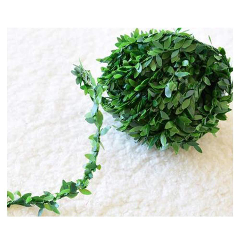 Saymequeen 7.5メートル 人工 DIY クリスマスデコレーション 編み込みリースハンギングリーフ 屋外 ホームガーデン 壁植物 (小さな葉) B07GSVJTLM