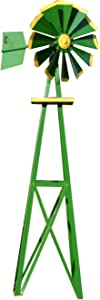 Outdoor Water Solutions BYW0128 Small Green and Yellow Powder Coated Backyard Windmill