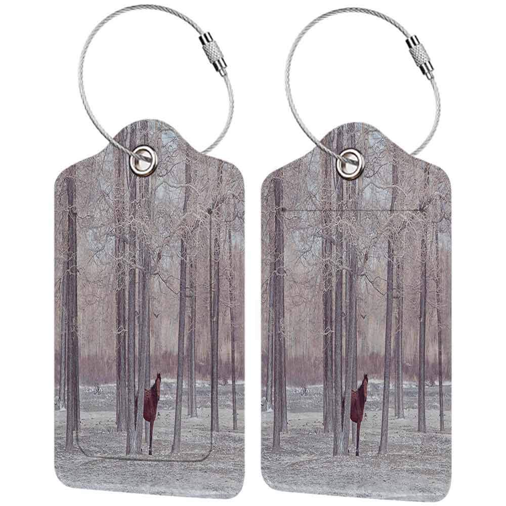 Flexible luggage tag Equestrian Decor Lonely Horse in Forest Stands behind Leafless Trees Winter Snowy Panorama Fashion match Brown Beige W2.7 x L4.6