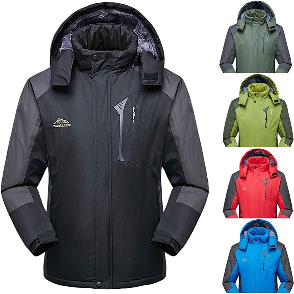 eipogp Ski Jackets for Men,Autumn Winter Breathable Waterproof Wingbreaker Coat Sport Cimbing Thicken Warm Hoodie Shell