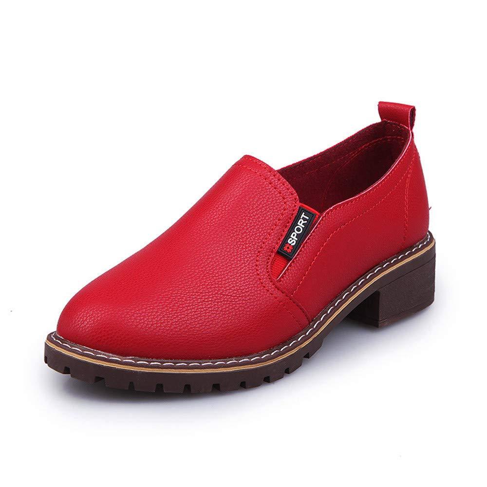 BaZhaHei Damen Schuhe Mode Frauen Ankle Flache Oxford Leder Freizeitschuhe Kurze Stiefel Dicker Absatz Low-Heels Einfarbig britischer Stil Kleine Lederschuhe Einzelne Schuhe Booties