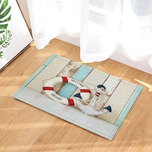 Nautical Marine Decor Anchor and Lifeline on Wooden Background Bath Rugs Non-Slip Doormat Floor Entryways Indoor Front Door Mat Kids Bath Mat 15.7x23.6in Bathroom Accessories