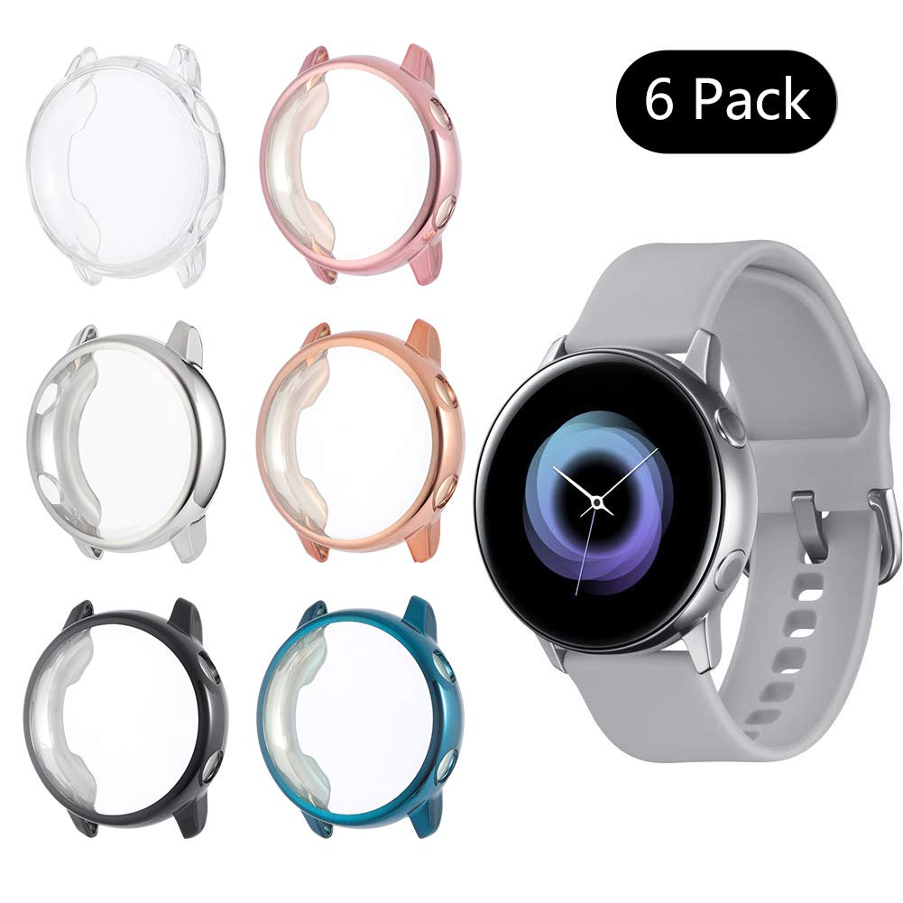 Screen Protector Case Compatible with Samsung Galaxy Watch Active 40mm, Full Coverage Soft TPU Case Protective Screen Cover Bumper Shell (6Pack-B) by Fingertip WD