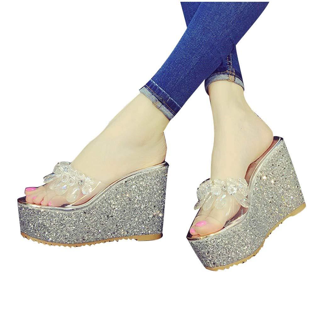Zapatos de Mujer Zapatillas de cu/ña de Verano Moda Sandalias de tac/ón Alto Simple Zapatilla Dulce