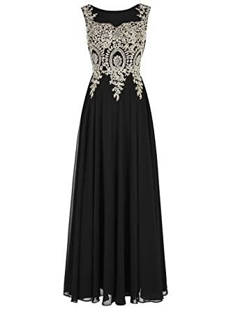 ALAGIRLS Long Applique Prom Dress See-Through Chiffon Evening Dress Black US2